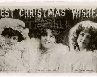 Best Christmas Wishes Pretty Edwardian Actresses RPPC Postcard - Rowlands, Studholme, Lessing - Rotary Photo Series Postmarked 1906