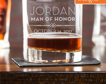 Personalized Whiskey Glass, Man Of Honor Gift, Wedding Favors Glass, Scotch Glass, Whiskey Glassware, Groomsmen Gift, Monogram Whiskey Glass