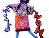 Reserved for PAULA WILD WOMAN Art Doll Original Sculpt Clay and Cloth with Purple Batik and Beaded Felt Appalachian Art
