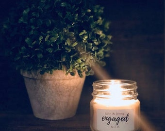 Personalized  Natural Soy Candles - Engagment and Wedding Favors