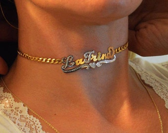 Choker necklace name, Street style chokers,Trendy name chokers, Personalized chokers.