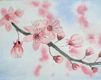 Cherry Blossom Original Painting/Cherry Blossom Original Art/Blossom Tree Art/Cherry Blossom/Pink Flower Art/Original Art/Hand-Painted Gift