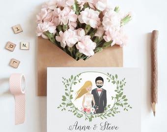 Custom wedding invitation, Wedding illustration, Bride and groom, Personalized wedding portrait, Couple portrait illustration, Wedding card