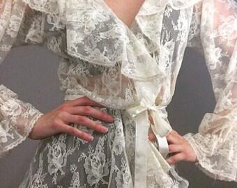 Romantic Lace Ruffled Vintage Blouse