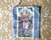 Drawstring Bag Lady of April Art Nouveau Birthstone Series Goddess Demeter with Daisies and Trees Mucha Style Tarot Deck Cosmetic Makeup Bag