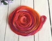 Hand Dyed Tatting Thread - Size 50 - Crochet Cotton Thread - Red , Orange , Purple  - Saffron - 50 Yards