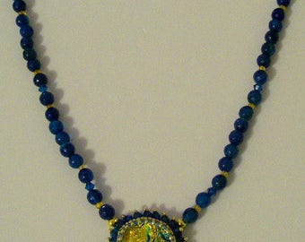 Dichoic one of a kind golden blue center piece