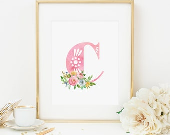 Initial Printable Letter C Nursery Monogram Print Nursery Letters Spring Floral Initial Print Pink Initial Wall Art Pink Flowers Girl 233