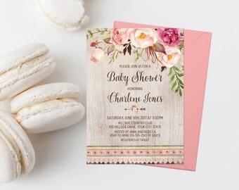 Bohemian Baby Shower Invitation Printable Boho Baby Shower Invite Boho Tribal Baby Shower Pink Floral Baby Shower Rustic Baby Shower 265