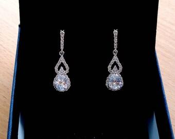 Wedding earrings jewelry gift crystal teardrop dangle drop earrings bridal earrings bridal jewelry white gold statement stud bridesmaid