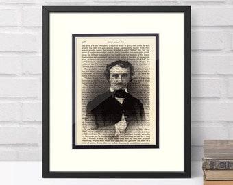 Edgar Allan Poe over Vintage Edgar Allan Poe Book Page - Edgar Allan Poe Art, Edgar Allan Poe Gift, Edgar Allen Poe, Literary Gift, Poetry