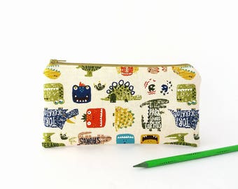 Pencil bag, Dinosaur, Pencil case, Boys, Pencil pouch, Child travel wallet, Cute zipper wallet, Gift for child, Dinosaur gifts for kids