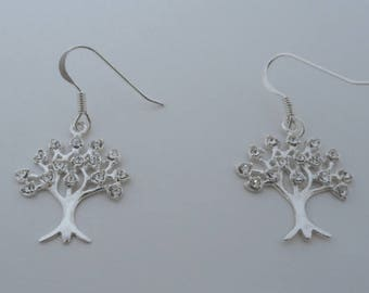 925 Sterling Silver Crystal Tree of LIFE, Symbol of Immortality Drop Dangle Earrings
