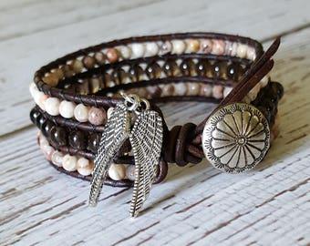 Beaded, Leather, Cuff Bracelet, Bohemian Jewelry, Wrap Bracelet, Smokey Quartz, Mexican Crazy Lace Agate, Rustic Jewelry, Southwest Jewelry