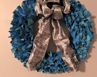 Teal and Silver Gray Fabric and Ribbon Wreath