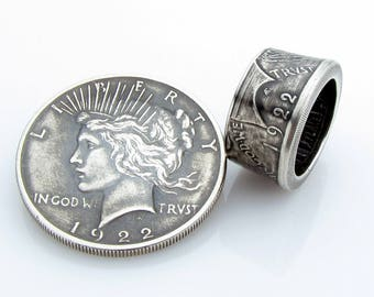Peace Dollar Coin Ring, SILVER, Unique Engagement Ring, Wedding Ring, Coin Jewelry, Mens, Band, Mans, Rings