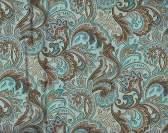 BTY Aqua & Brown Paisley Print 100% Cotton Quilt Crafting Fabric by the Yard