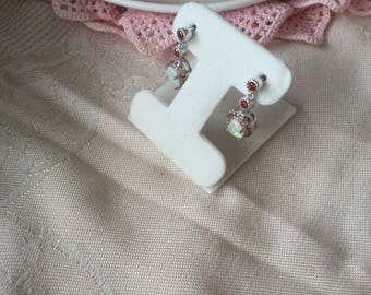 Vintage Sterling Silver Earrings with Opals and Rubies Opal ear rings
