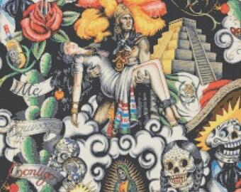 Contigo mexican painting contigo pattern contigo cross stitch mexican pattern - 220 x 320 stitches - INSTANT Download - B847