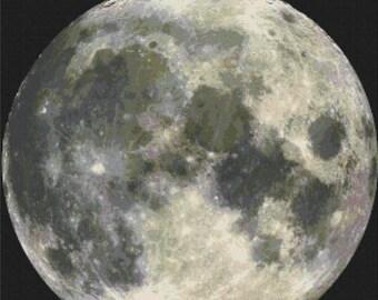 moon cross stitch pattern pdf moon pattern Ponto de cruz da lua stitch trasna - 276 x 276 stitches - INSTANT Download - B383