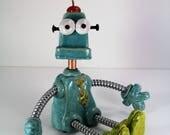robot, ceramic robot, mixed media robot, robot sculpture, handmade robot, whimsical robot