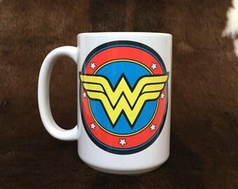 Wonder Woman mug, gift item, coffee mug, super hero mug, gift for her, teacher gift