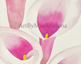 "Pink Calla Lilies, Original Watercolor Painting, 5""X7"""
