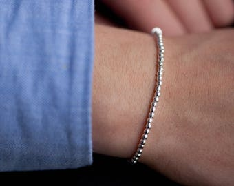 Bracelet with small silver beads