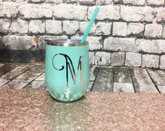 Metal Wine Glass - Metal Wine Tumbler - Bachelorette Party Favors - Personalized Wine Glass - Monogram Wine Glass - Blank Metal Wine Tumbler