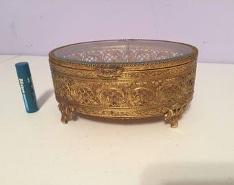 Vintage filigree ormolu oval jewelry box