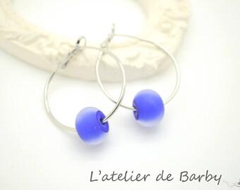 Blue frosted Lampwork Glass bead earrings