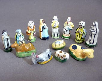 13 french feves vintage miniatures nativity jesus lady virgin mary joseph crib southeastern France miniatures, porcelain dolls, Christmas