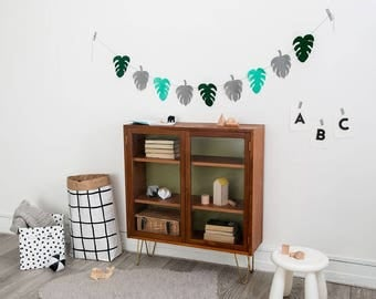 Garland, Monstera garland, bunting, monstera leaf, botanical print, plants, succulents, tropical decor, botanical, tropic nursery decor