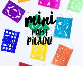 Mini Mexican papel picado banner, rainbow color bunting, cut tissue paper, fiesta party supplies, party decorations, dessert bar decor