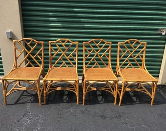 Mid-Century Italian Rattan Chippendale Chairs (4)