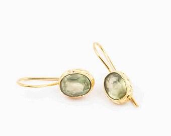 20% Off 925 Sterling Silver Green Prehnite earring 18k Gold Vermeil Handmade Earring