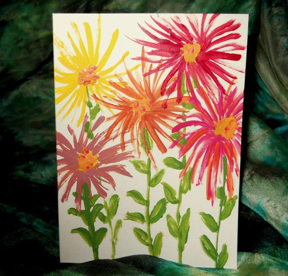 Original Hand Painted Blank Note Card, Acrylic Painting, Spider Zinnia 1, Folk Art Keepsake Signed Artwork by Stacey Torres