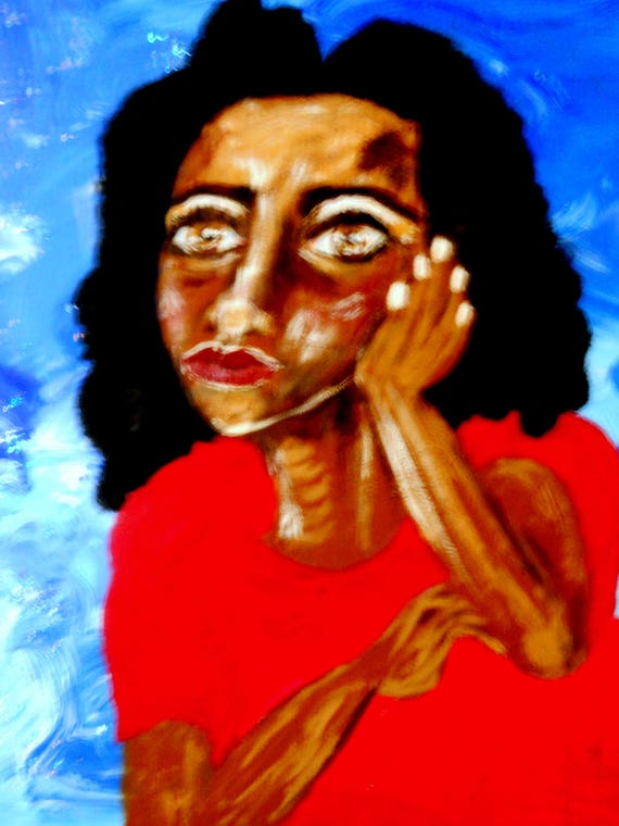 "WISH I MIGHT, Acrylic portrait by Outsider Artist, Stacey Torres, on 16x20"" Framed Canvas Panel, African American Folk Art"
