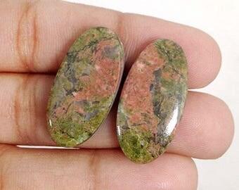 Unakite Pair 43Ct (26x13x6 mm) Oval Shape Beautiful Natural Gemstone NS16339
