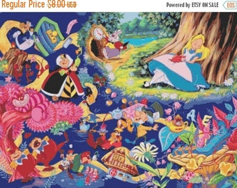"alice in wonderland Counted Cross Stitch alice Pattern embroidery needlepoint needlecraft korss - 31.50"" x 23.64"" - L865"
