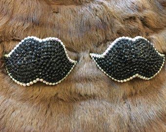 Rhinestone burlesque pasties mustaches MADE TO ORDER
