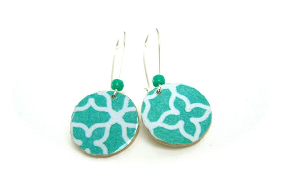 Wood earrings Scandinavian Turquoise geometric scrolls wood natural ethical, large silver plated brass hooks, turquoise beads