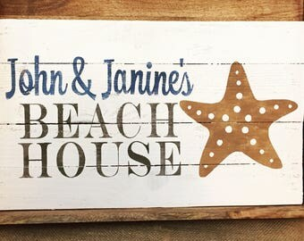 Custom Rustic Wooden Beach House Sign