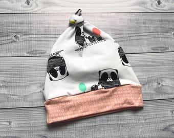 Baby Knot Hat - Panda Baby Knot Hat - Panda Baby Hat, Organic Baby Knot Hat - White Baby Knot Hat - Baby Shower Gift - Panda Baby Gift