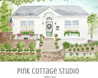 Watercolor home portrait, Custom house portrait, Painting of house from photo, Gift for parents, Gift for in laws, Painting of your home