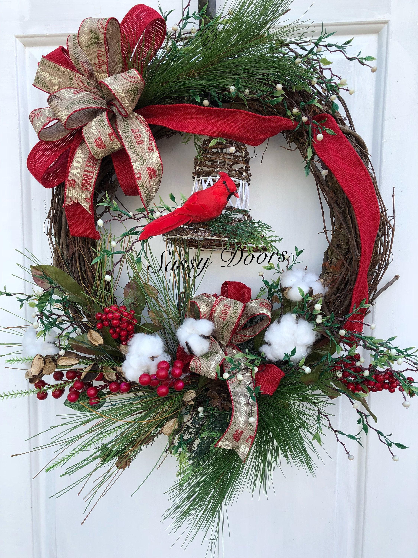 Woodland christmas wreath rustic chrisrmas wreath for Front door xmas wreaths