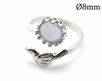 1pc Sterling Silver 925 Adjustable Ring, Bezel Cup Setting Ring, Silver Bird Ring, Stone Setting Ring, JBB Findings, Cabochon Setting Ring