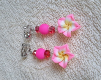 Beautiful earrings dangle clips, girly flower collection