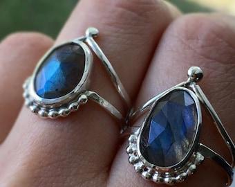 Labradorite ring, sterling silver labradorite ring, labradorite ring set, labradorite stacking ring, faceted labradorite ring, MADE TO ORDER