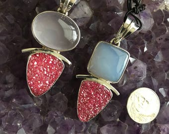 Sterling Silver Vibrant drusy pendants